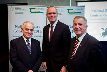 Tom Moran, Secretary General of DAFM, with Simon Coveney TD, Minister for Agriculture, Food & the Marine, and Gerry Boyle, Director of Teagasc, at the National Dairy Conference 2014.