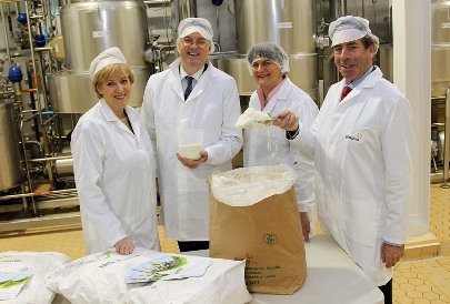 Pictured at the official opening of Glanbia Ingredients Ireland's new milk protein plant were (left to right): Heather Humphreys, Minister for Arts, Heritage and the Gaeltacht; Jim Bergin, CEO of Glanbia Ingredients Ireland; Arlene Foster, NI Minister for Enterprise, Trade and Investment; and Liam Herlihy, chairman of Glanbia Ingredients Ireland.
