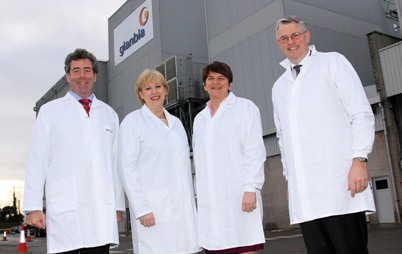Glanbia Ingredients Ireland's new Milk Protein Plant at Virginia was officially opened by representatives from the Governments of the Republic of Ireland and Northern Ireland - Heather Humphreys, Minister for Arts, Heritage and the Gaeltacht, and Arlene Foster, NI Minister for Enterprise, Trade and Investment. Pictured (left to right) are: Liam Herlihy, chairman of Glanbia Ingredients Ireland; Heather Humphreys; Arlene Foster; and Jim Bergin, chief executive of Glanbia Ingredients Ireland.