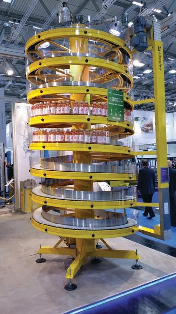 SpiralVeyor® BottleLift - enabling 3-dimensional liquid container flow.