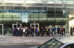 People queuing for the Food & Drink Business Conference & Exhibition held recently at the Aviva Stadium in Dublin.