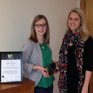Emily Claydon receives her award from Karen Naylor of Verner Wheelock