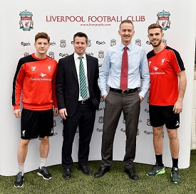 Pictured (left to right): Adam Lallana; Billy Hogan, Chief Commercial Officer at Liverpool Football Club; Mikkel Pilemand, Vice President Core Beer, Carlsberg Group; and Jordan Henderson.