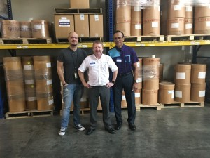 From left, Abe Cortez, US Vice President, Steve Loake, Managing Director and Jon Obligacion Warehouse Manager