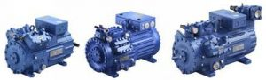 GEA compressors for applications with natural refrigerants: GEA Bock HG34e CO2, HG46 CO2 T, and HG56e HC (left to right).